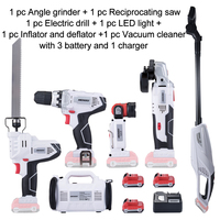 6 Piece KEINSO 12 Volt Lithium Ion Cordless Power Combo Kit Power Tool Combination 6 Tool Combo Kit 2.0Ah Battery