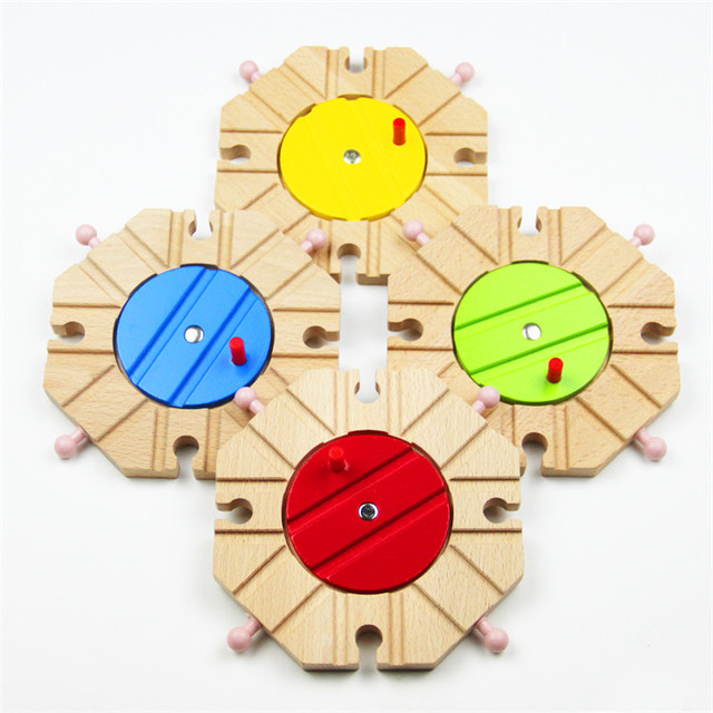 Wooden Train Track Set Accessories Beech Round Disc Center Hub Console Turntable Octree Rail Kids Toys 1pcs