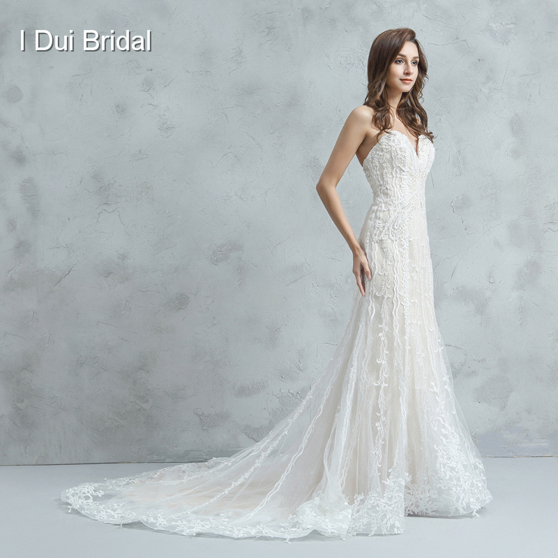 Classic Wedding Gowns 2018: Spaghetti Strap Sheath Bridal Gown Luxury Beaded Unique