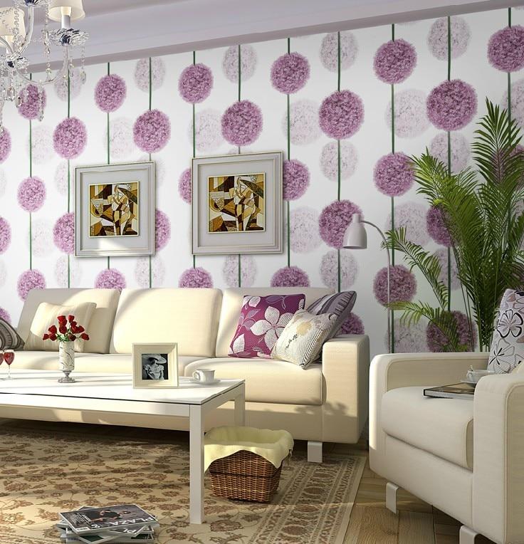Purple Flower 3D Wallpaper Modern PVC Waterproof Wallpaper Roll