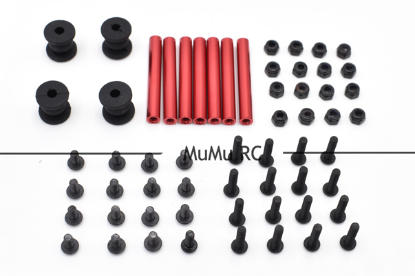 8pcs M3*35mm Red Aluminum Standoff 4pcs Black Rubber Ball w/Screws Accessories For RC Quadcopter Drone For Gimbal QAV250 FPV