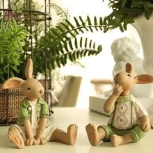 Technology gift wedding gift home decoration resin animal decoration green rabbit furnishings