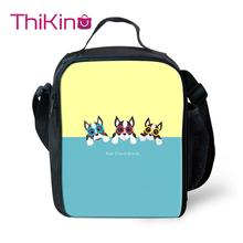 Thikin Casual Boston Terrier Pattern Lunch Bags for Teen Boys Fashion Portable Cooler Box Cartoon Pattern Tote Picnic Pouch