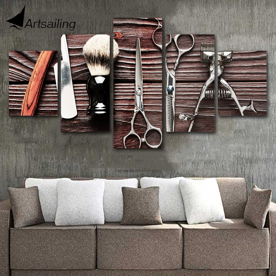 modern wall art pictures home decor barber poster 5 panels hair dressing hair salon posters hd printed painting frame