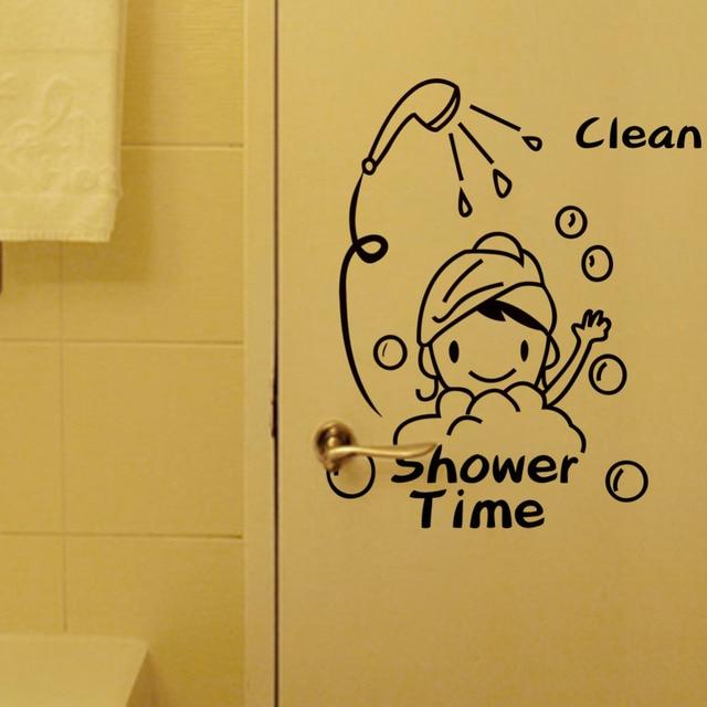 Shower Time Bathroom Wall Stickers Home Decor Vinyl waterproof vinyl ...