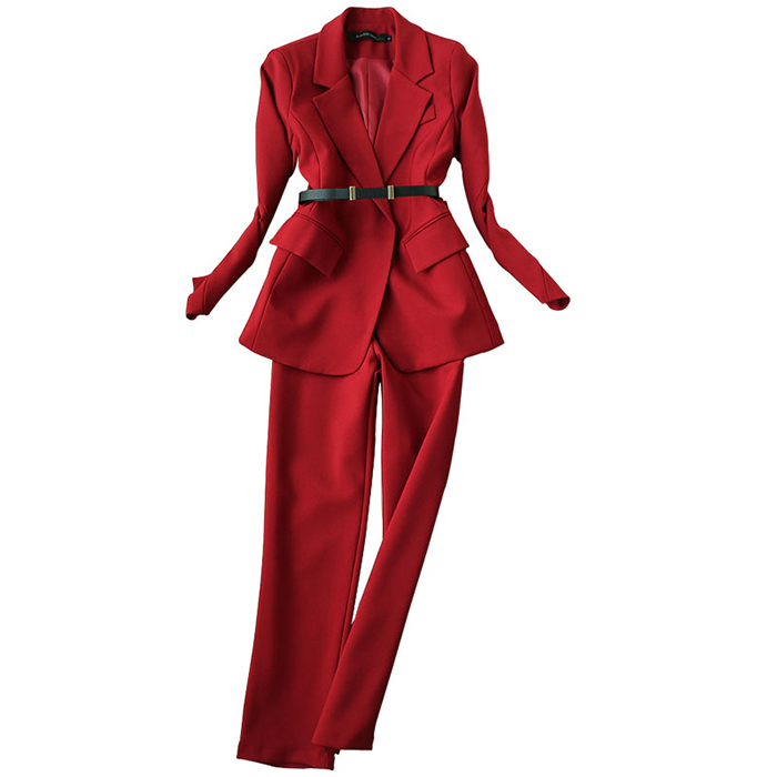 2019 Spring Autumn Elegant Long Sleeve Blazer with Leather Belt and Ankle-Length Trousers OL Clothing Set