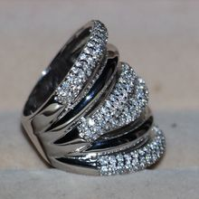 Vintage Size 5-11 Fashion jewelry 14kt white gold filled CZ Simulated stones Women Wedding Engagement Band Ring with box gift