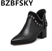2017Fashion Female Winter Warm Ankle Boots PU Leather Pointed Toe Square Heel Women Boots Rivets Slip