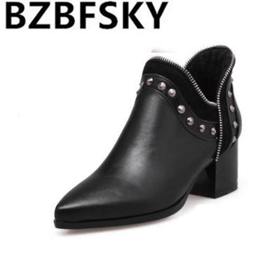 2017Fashion Female Winter Warm Ankle Boots PU Leather Pointed Toe Square Heel Women Boots Rivets Slip-on Women Ankle Boots new 2017 hats for women mix color cotton unisex men winter women fashion hip hop knitted warm hat female beanies cap6a03