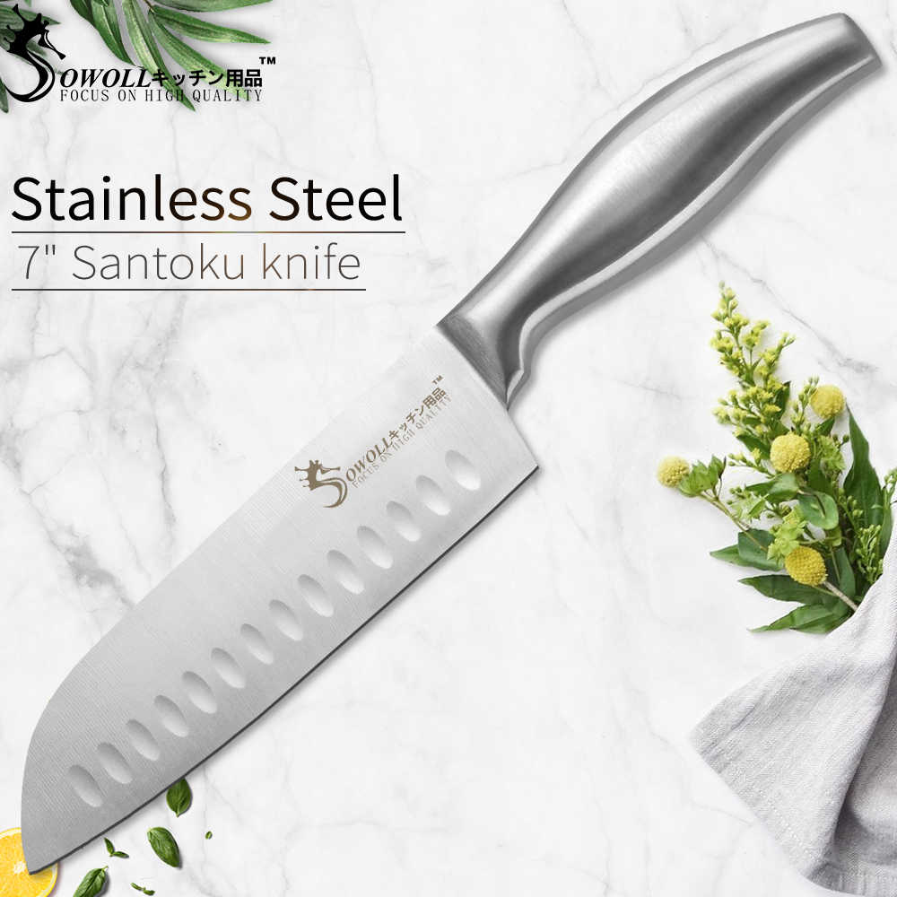 SOWOLL Kitchen Knife Fruit Utility Santoku Slicing Chef Knife Sharp Stainless Steel Kitchen Knife Hollow Handle Knife Accessory