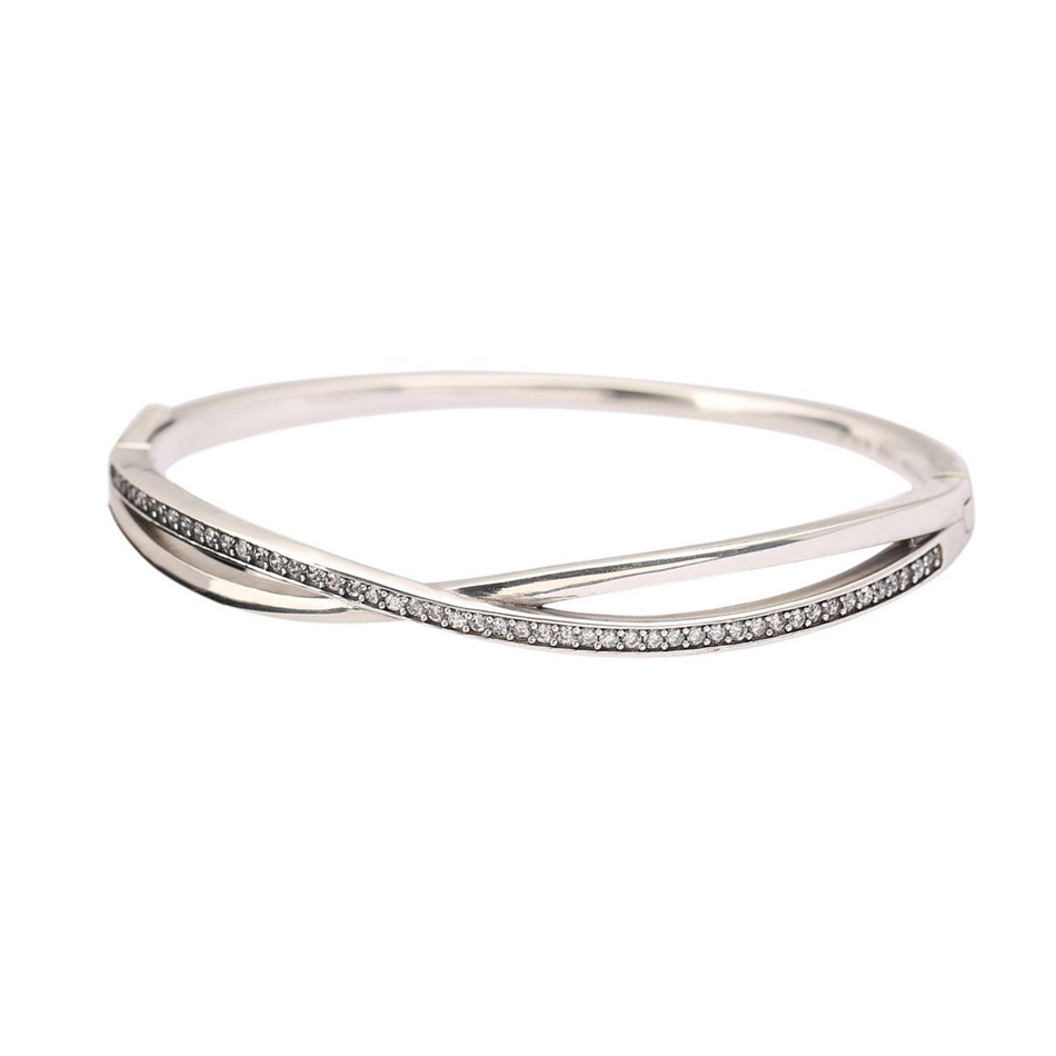 Authentic 925 Sterling Silver Entwined Clear CZ Bangle Bracelet For Women Wedding Gift fit Lady Fine Jewelry bangle