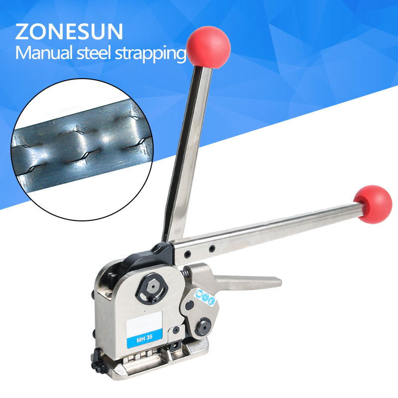 ZONESUN NEW srapping machine mh35 Manual Sealless Steel Strapping Tools for strap steels width from 16 to 25mm steel banding machine steel strapping tool handheld packaging equipment manual steel strapping tool