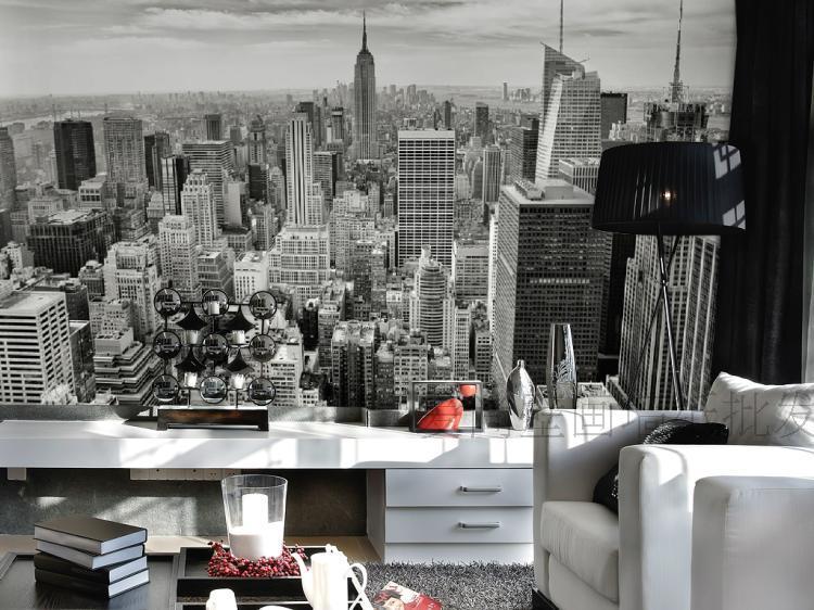 Freies Verschiffen 3D Stereo Wandbild Tapete Wohnzimmer Sofa Retro TV Hintergrundbild New York City