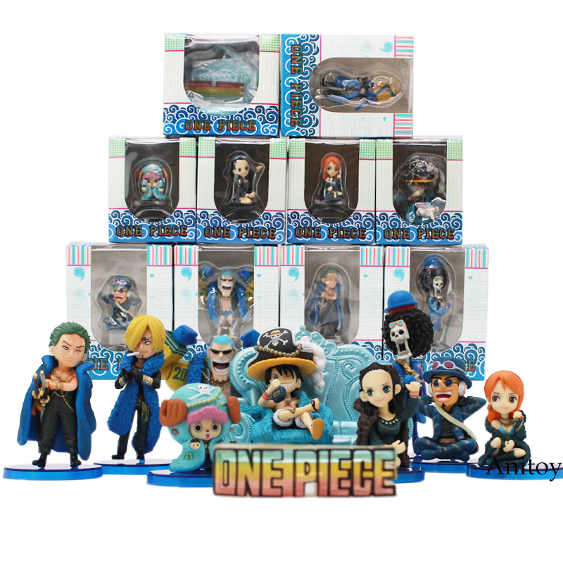 Anime One Piece 20th Anniversary Luffy Zoro Sanji Robin Nami Chopper Usopp Brook Franky Q Version PVC Figure Toys 10pcs/set