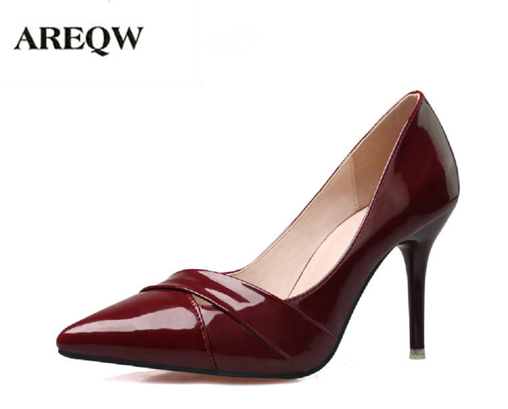 AREQW European and American wind new spring fashion high heels shallow mouth pointed hollow thin heels out sexy women's shoes 2017 the new european american fashion horn bow pointed mouth shallow comfortable flat sheet metal red shoes tide size 35 41