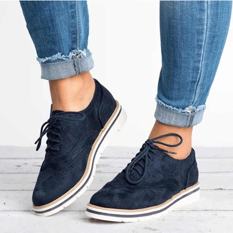 ff7d43315 ... Женская обувь с перфорацией типа «броги» больших размеров, осенняя  женская обувь на плоской ...