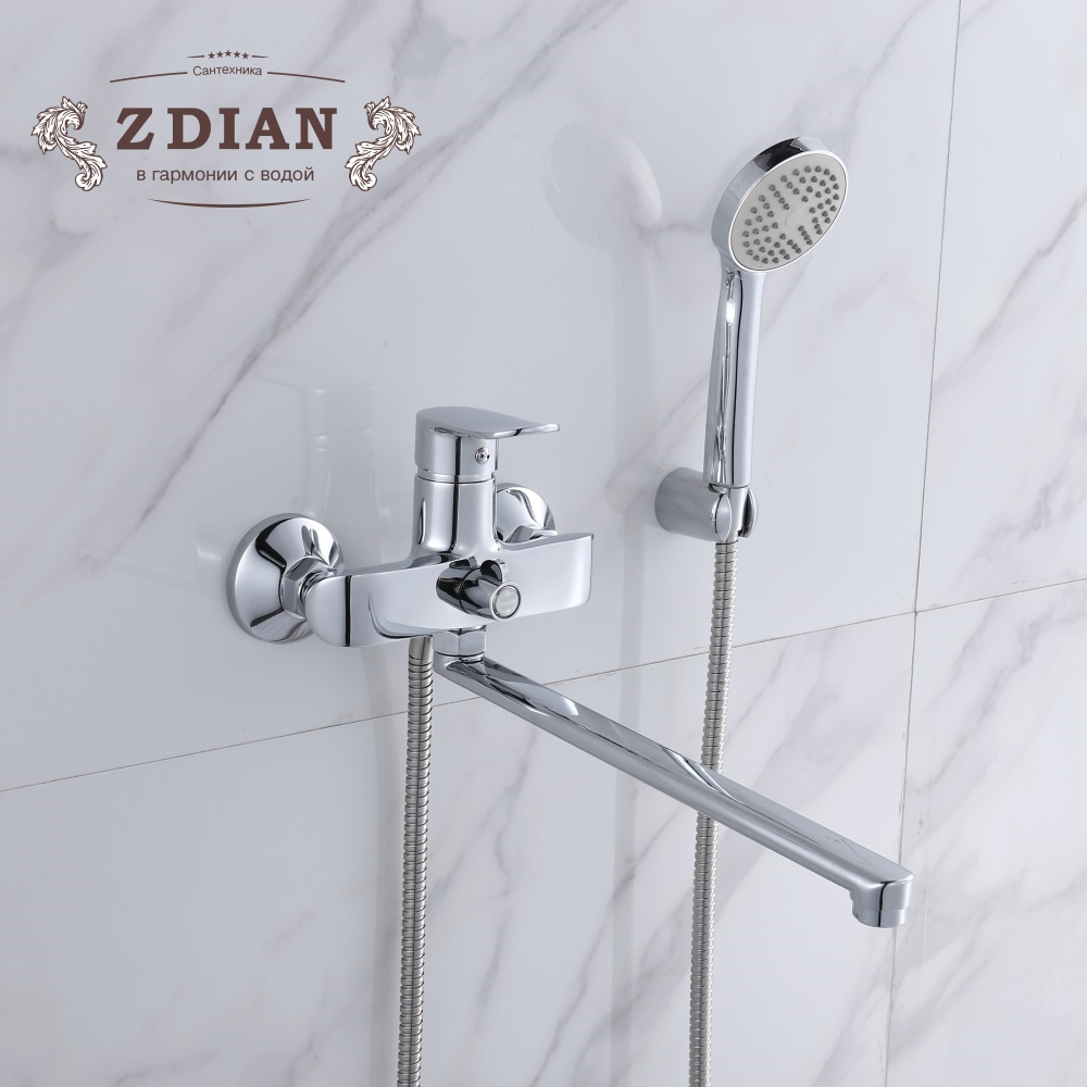 Bathroom Shower Faucets with Long Spout Set single Handle Bathtub Faucet with Hand Shower Head Wall Chromed torneira