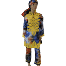 MD women african trouser suits clothing sets for plus size dashiki south africa clothes with pants gele headtie