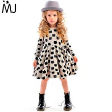 2016 Girls Dress Cotton Fashion Long sleeved Cat Head Ins Hot Girls Casual Out Clothing Children