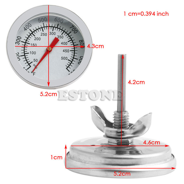50-500C Stainless Steel BBQ Barbecue Smoker Grill Thermometer Temperature Gauge
