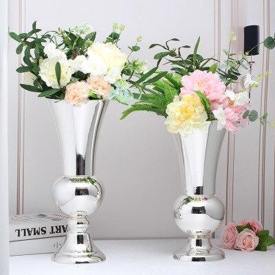 Metal Luksusowe Wazon Dla Kwiaty Kolor Srebrny Dekoracje ślubne W