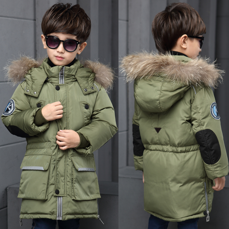 2017 Big Boy winter Warm Jacket Parka Outerwear Children Winter Jackets Down Coats Teenager Boy Thick Cotton Down Fur Big Hooded 2017 fashion teenager motorcycle coats boys leather jackets patchwork children outerwear letter printed boy faux leather jacket