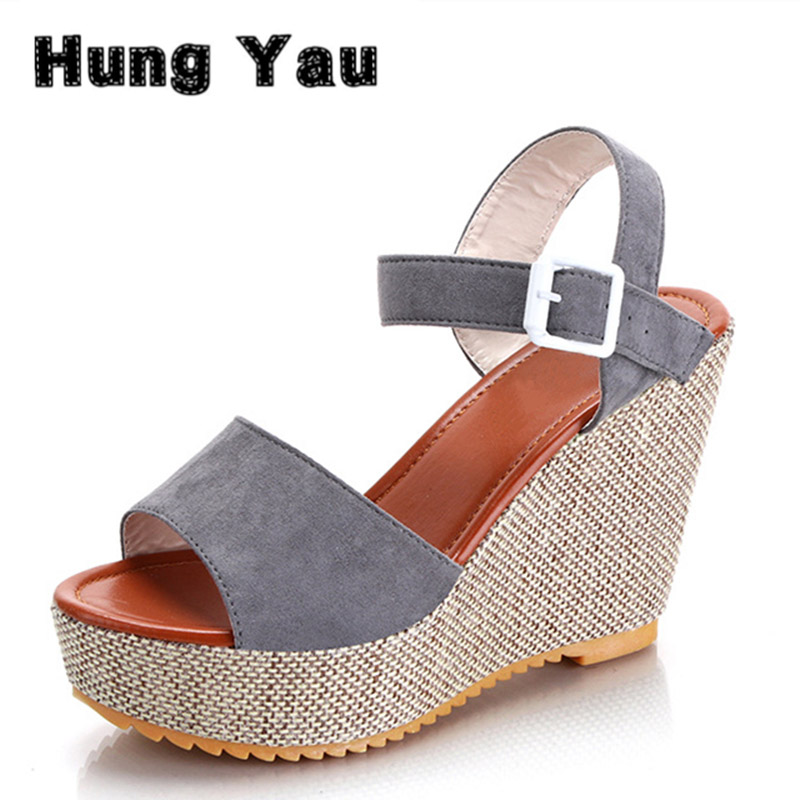 Hung Yau Gladiator Sandals Women Shoes 2017 Summer Open Toe Fashion High Heels Wedge Sandals Platform Straw Braid Shoes Size 8