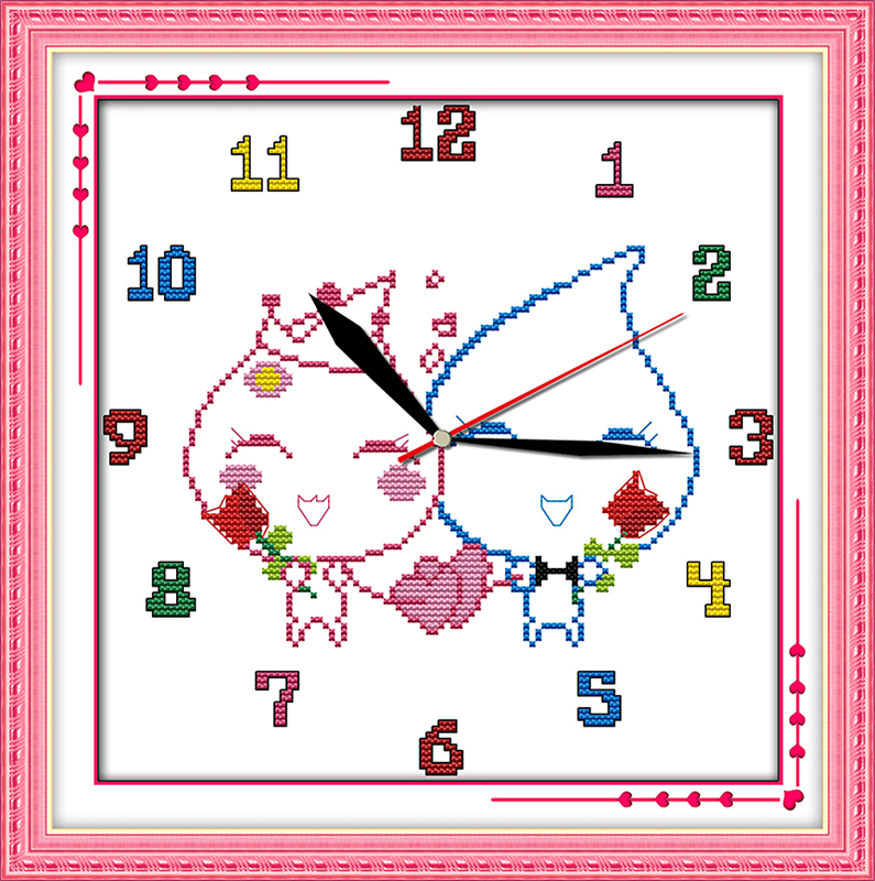Home & Garden Methodical Water-drop Love Cross Stitch Kit 14ct 11ct Count Print Canvas Wall Clock Stitches Embroidery Diy Handmade Needlework Plus Beneficial To The Sperm