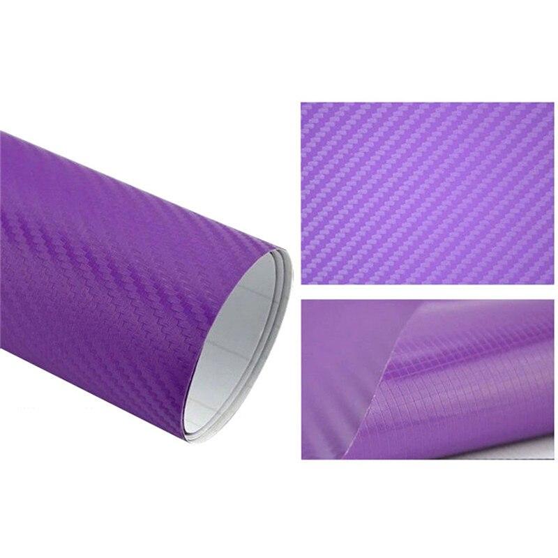 127cmx10/20 см 3D виниловая пленка из углеродного волокна для автомобиля, рулонная пленка, наклейка на машину, мотоцикл, наклейки для автомобиля, аксессуары для интерьера - Color Name: Purple