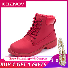 Koznoy Brand Ankle Boots Winter Women spring fall winter Top Quality Platform Ankle Boots Rubber Boots female lady Botas shoes
