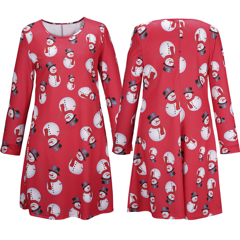 2705ba57846 Christmas Party Dress Red Black Plus Size Long Sleeve women clothing  Snowman Printed vestiti donna moda praia roupas femininas -in Dresses from  Women s ...