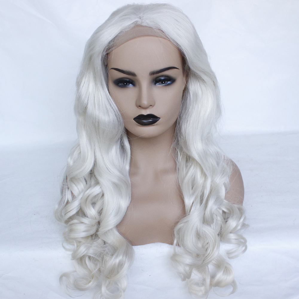 Fashion Platinum Blonde Synthetic Lace Front Wigs Heat Resistant Long Loose Body Wave White Blonde Wigs Cosplay for White Women-1