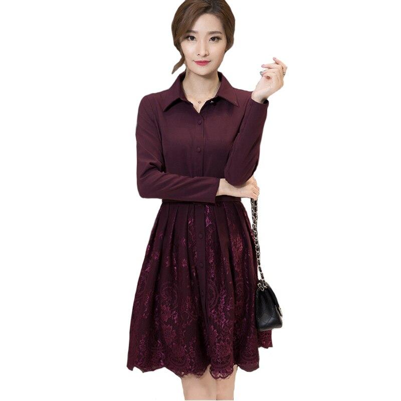 Autumn Full Sleeve Work Wear Dress New Arrival Womens Elegant Slim Causal Business A-Line Lace stitching Dress Vestidos L7502