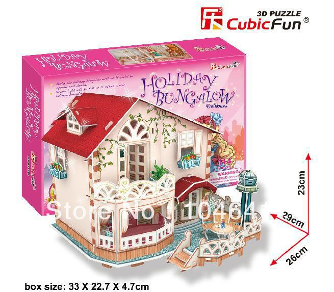 HOLIDAY BUNGALOW with LED light CubicFun 3D educational puzzle Paper & EPS Model Papercraft Home Adornment for christmas gift petronas towers cubicfun 3d educational puzzle paper