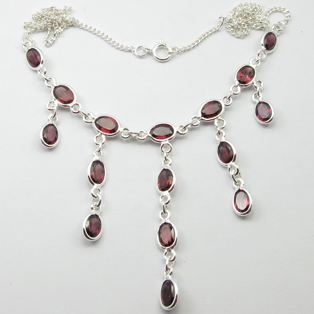 Solid Silver Red GARNET Necklace 17.3