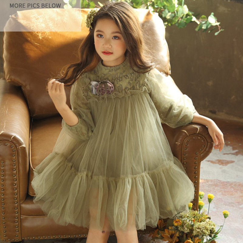 DFXD High Qualirt England Style Children Dress 2018 Spring Summer Soild Color Lace Corsage Little Girls Princess Dress 2-8Years ems dhl free shipping toddler little girl s 2017 princess ruffles layers sleeveless lace dress summer style suspender