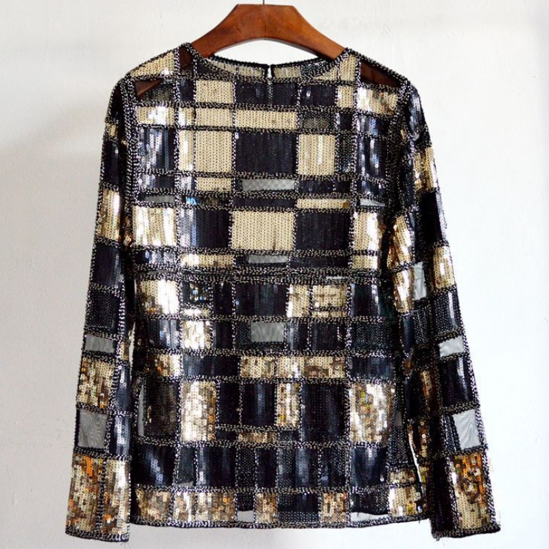 2017 Women Luxury Plaid Check Beading Sequins Tops Tees Perspective Hollow Out O neck Full Sleeve