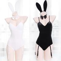 Japanese Sexy Bunny Girl Sleepwear Suit Female Women Cosplay Costume Rabbit Jumpsuit Velvet Underwear Nightdress Black & White