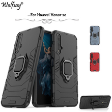 Huawei Honor 20 Case Luxury Armor Metal Finger Ring Holder Phone Bumper For Back Cover Fundas *