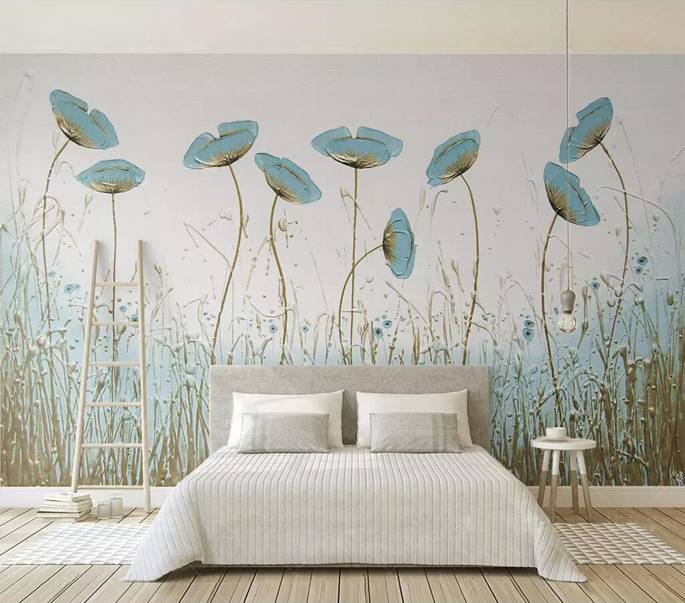 Decorative Wallpaper Simple Aesthetic Style Mint Green Flower Tv Background Wall Fabric Textile Wallcoverings Aliexpress
