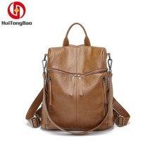 Women Genuine Leather Soft Shoulders Bag Cowhide Leisure Mini Small Travel Backpack Fashion Mochila Bagpack School For Girls
