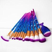 11 Adet Makyaj Fırçalar Set Mermaid Şekli Allık Pudra Fondöten Karıştırma Büyük Göz Farı Kontur Yüz Güzellik Makyaj Fırça Araçları