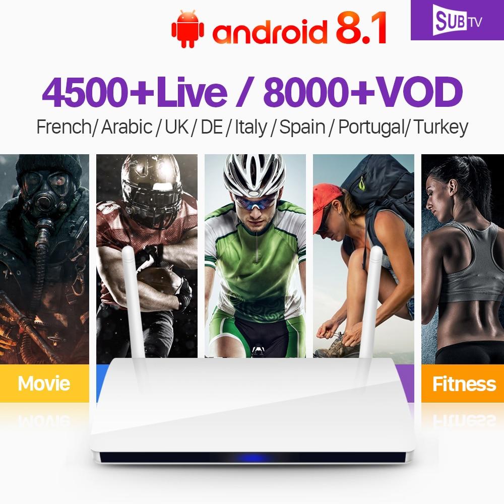 все цены на IPTV France Italia Arabic TV Box Android 8.1 R6 SUBTV IPTV Subscription 1 year French Arabic Portugal Turkey Canada Italia IP TV онлайн