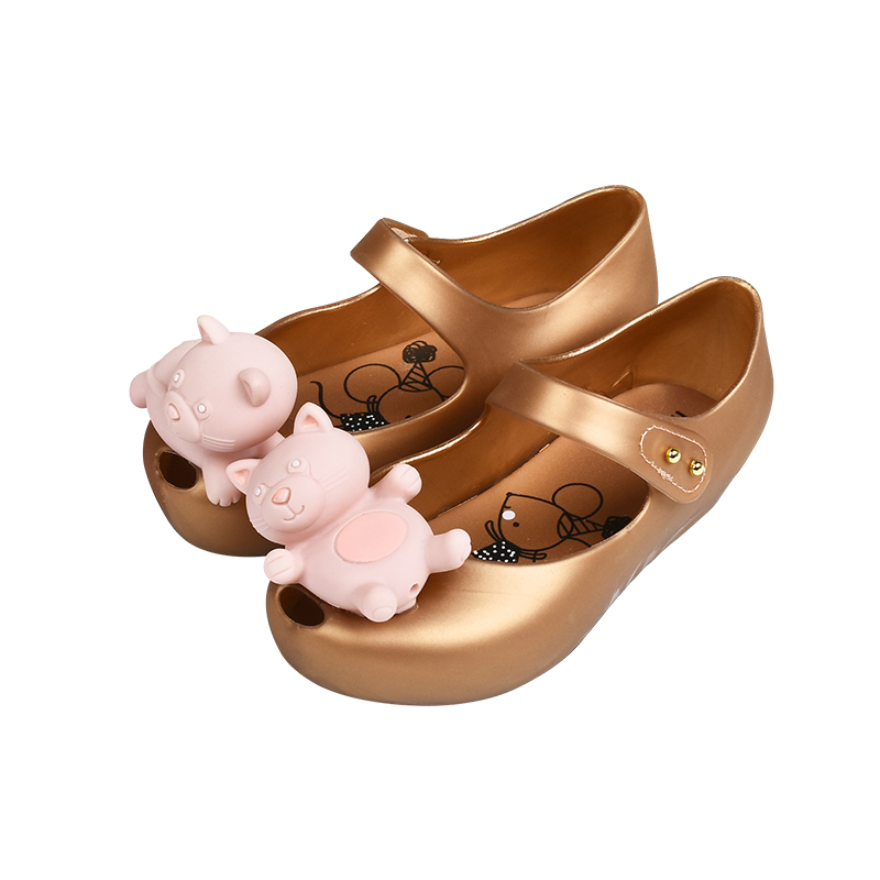 Melissa 2018 New 3D Bear Original Mini Jelly Sandals For Girls Cute Baby Sandals Girls Shoes Melissa Beach Sandals Water Shoes