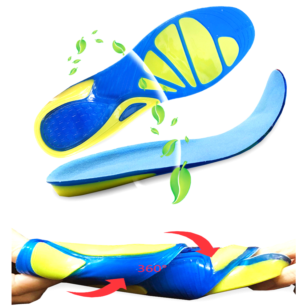 Silicon Gel Insoles Foot Care for Plantar Fasciitis Sport Insoles Shock Absorption Pads arch orthopedic sports shoes insole in Insoles from Sports Entertainment