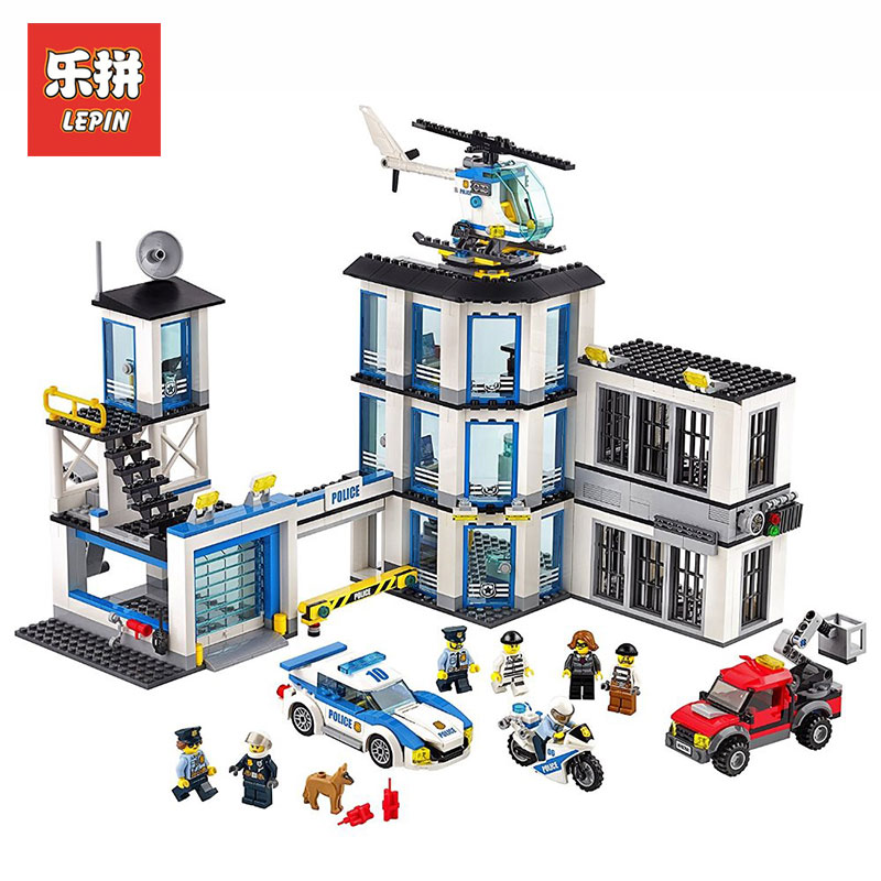 LEPIN 02020 City Series New Police Station Set Children Educational Model Building Blocks Bricks Toys for Gift LegoINGlys 60141 hot sembo block compatible lepin architecture city building blocks led light bricks apple flagship store toys for children gift