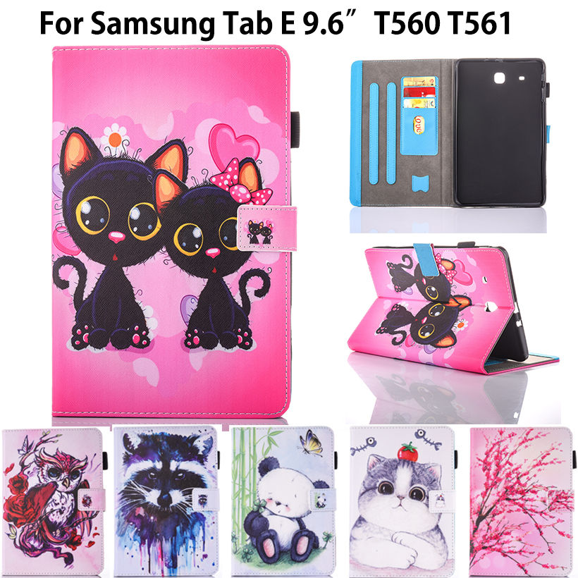 Fashion Animal Flip PU Leather sFor Samsung Galaxy Tab E 9.6 Case For Samsung Galaxy Tab E T560 SM-T560 T561 Smart Cover Cases 360 rotary flip open pu case w stand for 10 5 samsung galaxy tab s t805 white