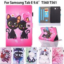 Animal de la manera Del Tirón de LA PU de la sfor Samsung Galaxy Tab E 9.6 Para El caso de Samsung Galaxy Tab E T560 SM-T560 T561 Smart Cover casos