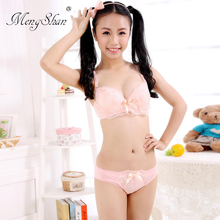 6b34fc2c4bf MengShan Lace brassiere suit Lovely girl A thin underwear suit Sexy bra +  beautiful underwear Bow
