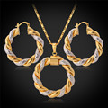 U7 Bridal Wedding Jewelry Sets For Women Party Yellow Gold Plated Trendy New Round Necklace Earrings Sets S129